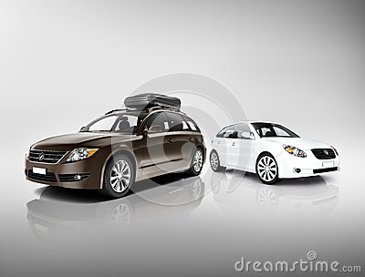 Three Dimensional Image of Black and White Cars Stock Photo