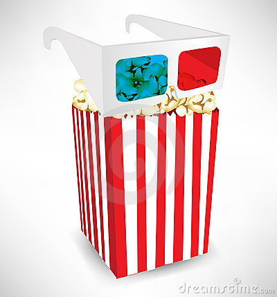 Three dimensional movie glasses and popcorn