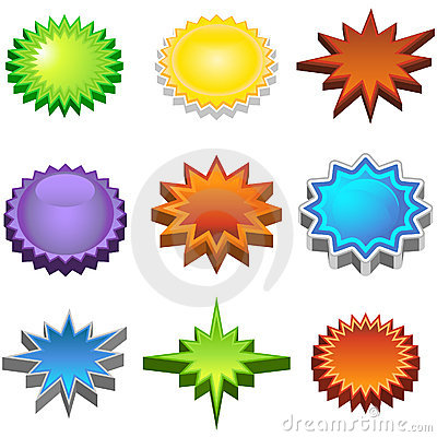 Free Three Dimensional Starburst Stickers Stock Photos - 9265313