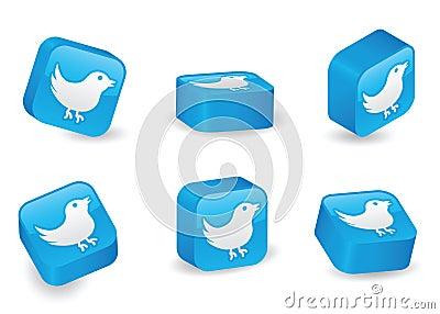 Three-Dimensional Twitter Blocks Editorial Stock Image