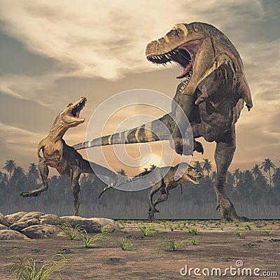 Free Three Dinosaurs - Tyrannosaurus Rex. Royalty Free Stock Image - 117986396