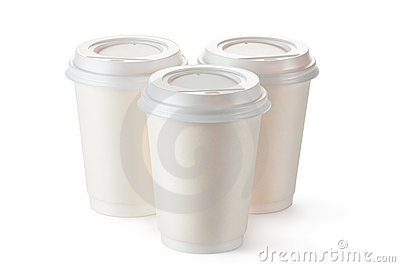 Three disposable coffee cups with plastic lid
