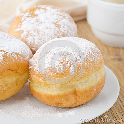 Free Three Donuts Sprinkled With Powdered Sugar Royalty Free Stock Image - 32088276