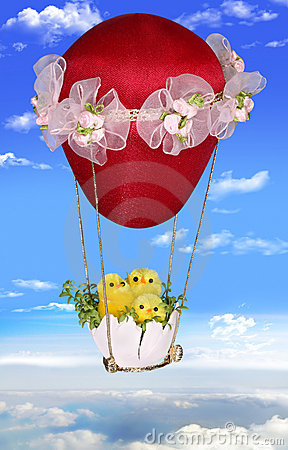 Free Three Easter Chickens On A Balloon Royalty Free Stock Photography - 19212677