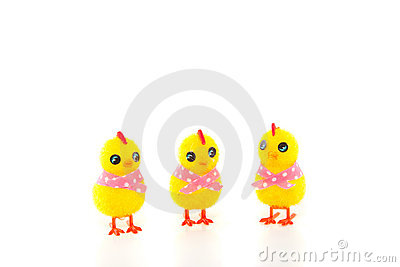 Three easter chicks