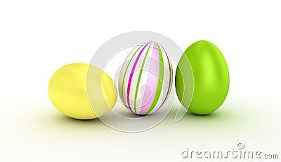 Three easter eggs.