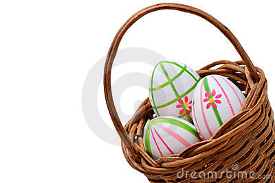 Three Easter eggs in a basket from corner