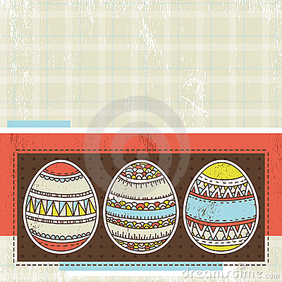 Three easter eggs over color background, vector
