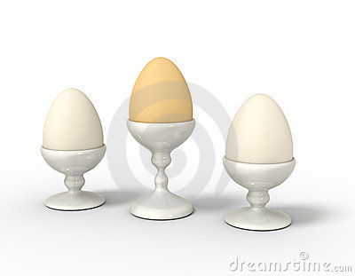 Three eggs in egg cups lined up.
