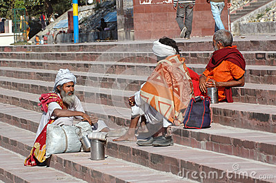 Three elderly Indian piligrims baba, sadhu in Rishikesh. Editorial Stock Image