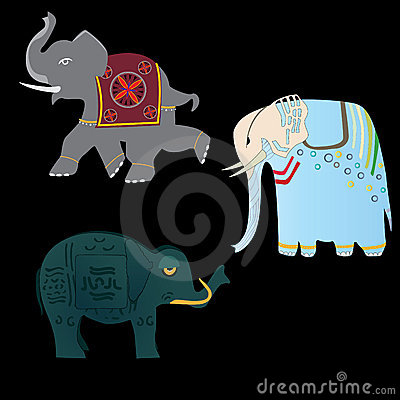 Three Elephants Stock Photo - Image: 9532480