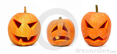 Three emotional halloween pumpkins