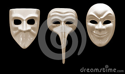 Three emotional mask made ​​of porcelain
