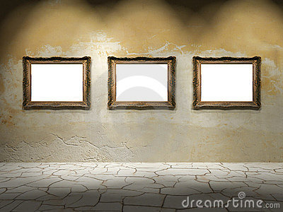 three empty frames on a wall royalty free stock images image 31176639