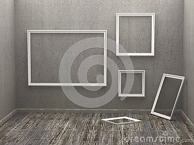 three empty frames on aged wall stock photos image 8143633