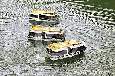 Three empty passengers transport vessels