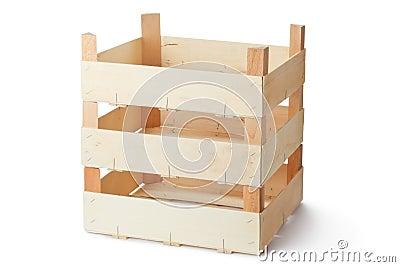 Three empty wooden crates