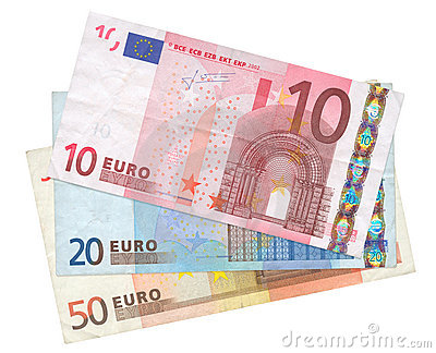 Three Euro banknotes