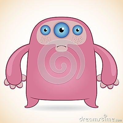 Three-eyed pink monster