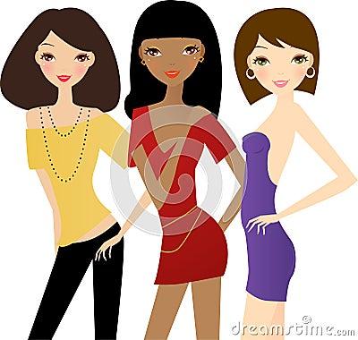 Three fashion women