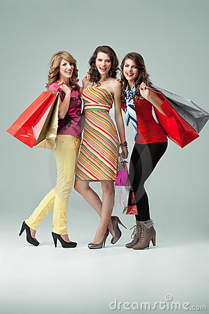 Three fashionable Women Shopping