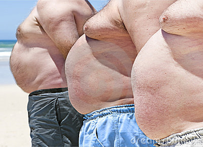 Three fat men on a beach