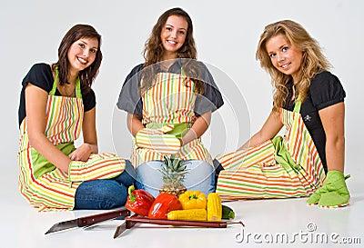 Three female cooks