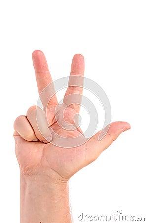 Three finger. Man s hand.