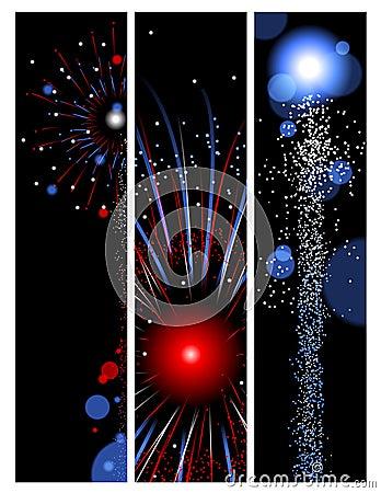 Three fireworks banners