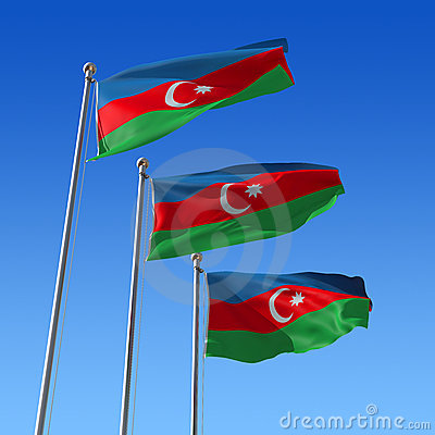 Three flags of Azerbaijan against blue sky. 3d ill