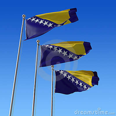 Three flags of Bosnia and Herzegovina against blue