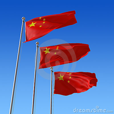 Three flags of China against blue sky. 3d illustra