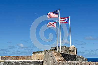 Three flags of El Morro, Puerto Rico