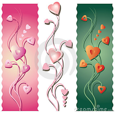 Free Three Floral Valentine S Borders Royalty Free Stock Photos - 12284748
