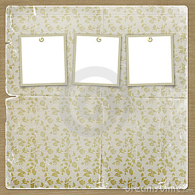 Free Three Frames For Photos On The Floral  Background Stock Photography - 6771632