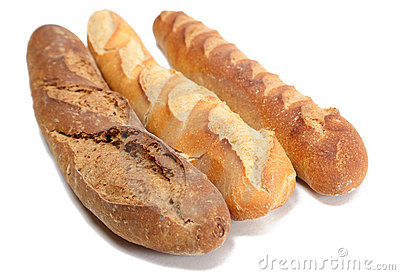 Three French baguettes