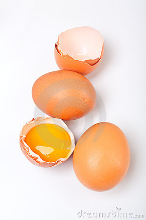 Three fresh organic eggs