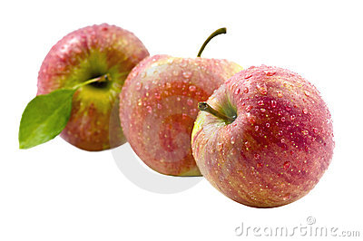 Three Fresh Red Apple