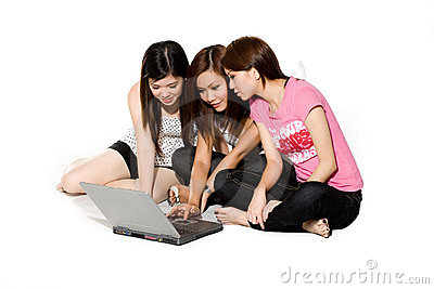 Three friends chatting online