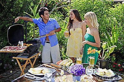 Three Friends Having A Barbecue Lunch Stock Photos - Image: 14507983