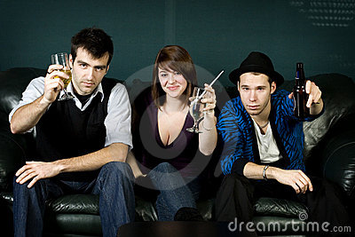 Three Friends Partying With Drinks Stock Photos - Image: 7997803