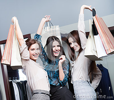 Three friends after shopping