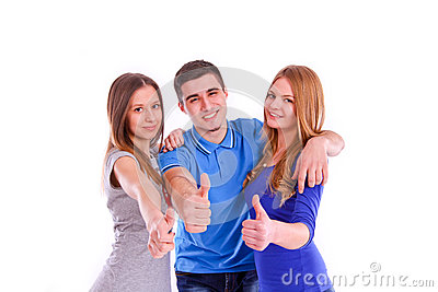 Three friends showing thumbs up sign on white back