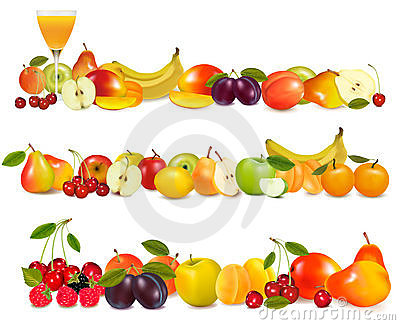 Three fruit design borders isolated on white.
