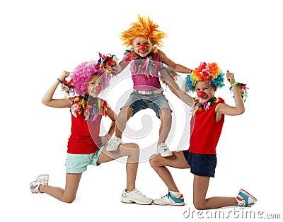 Three funny active clowns