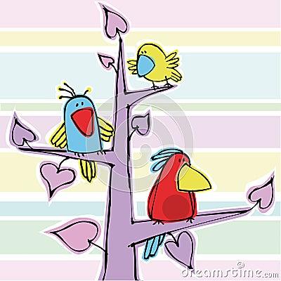 Three funny birdies