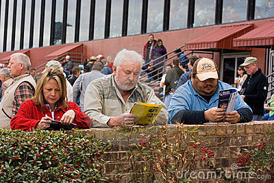 Three Gamblers at the Horse Race Track Editorial Image