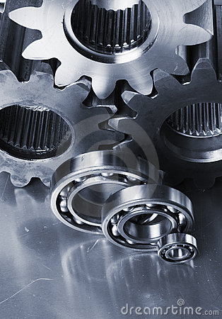 Three gear-wheels and ball-bearings