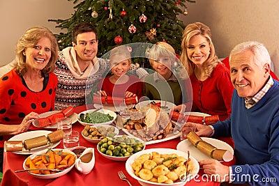 Three Generation Family Enjoying Christmas
