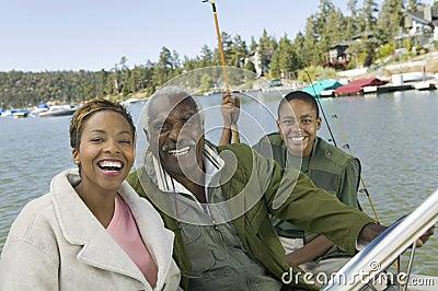 Three generation family on fishing trip
